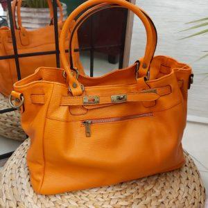 sac cuir orange