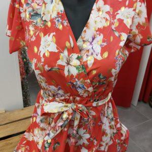 robe courte fleuri rouge haut