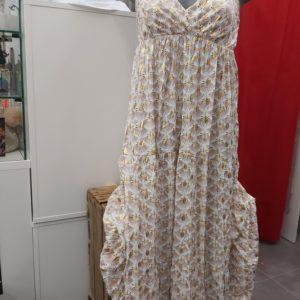 robe longue fleuri blanche