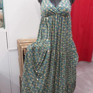 robe fleuri vert